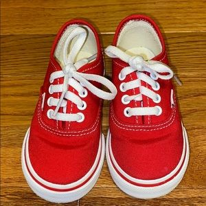 Low Cut Red And White Vans